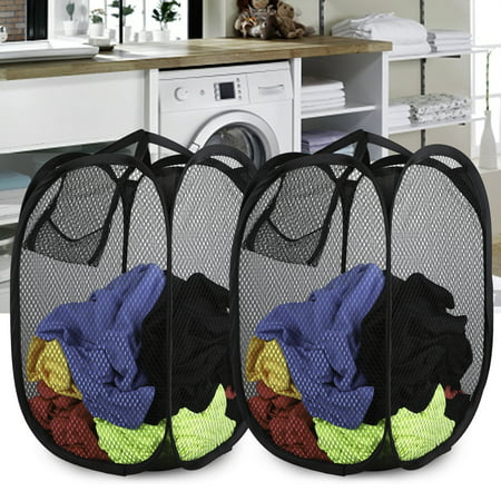 Large Wash Bag (TSV Mesh Large Laundry Basket, Collapsible Laundry Hamper, Foldable Clothes Bag, Folding Washing Basket, with Heavy-Duty handles )