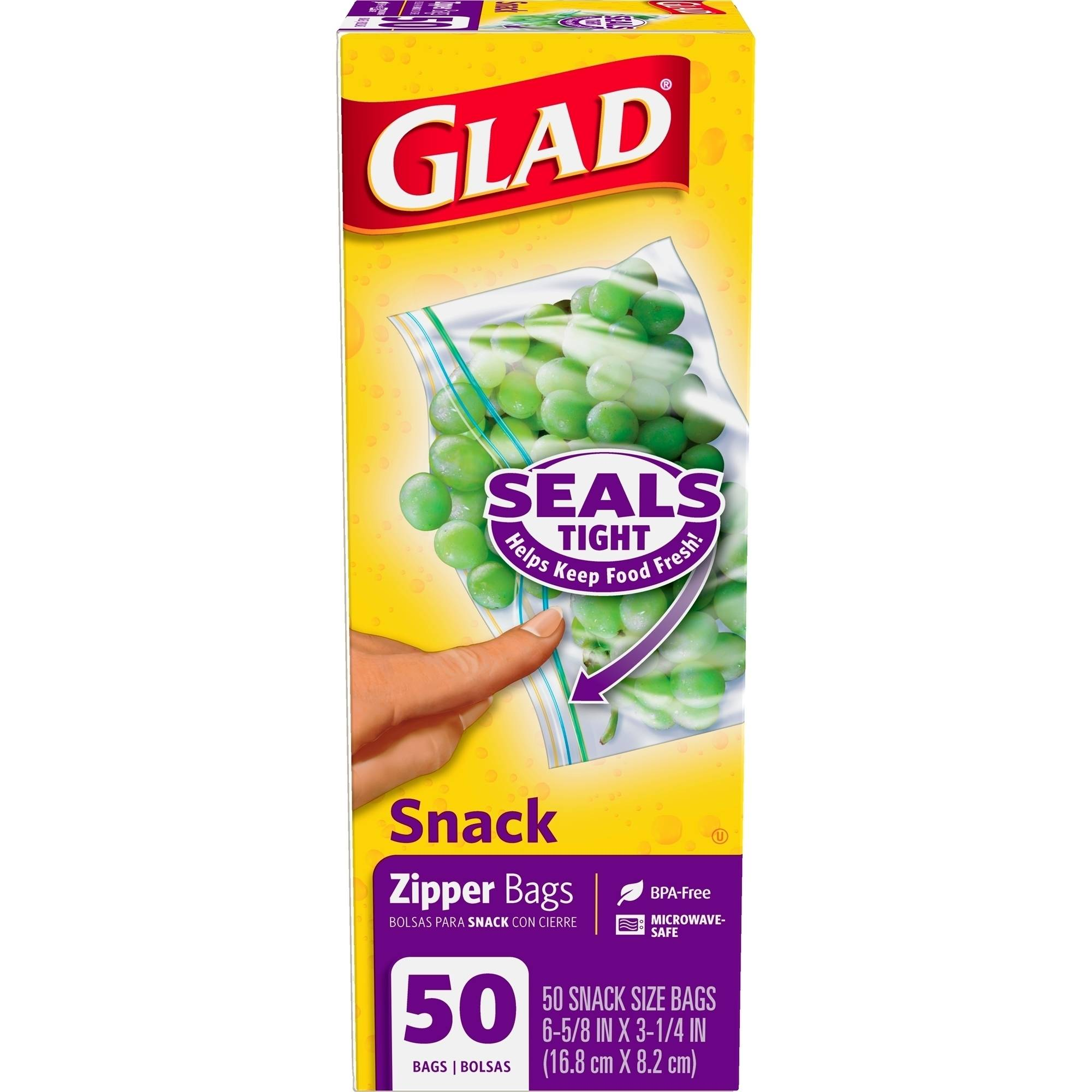 Glad Snack Size Zipper Food Storage Bags, 50 count