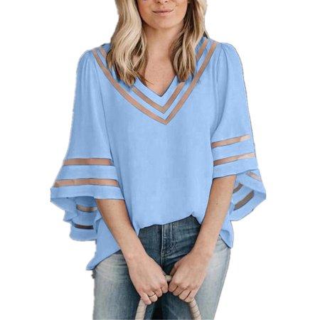 White Stripe V-neck Top - Plus Size Women V-neck Chiffon Tops Mesh Patchwork Blouse
