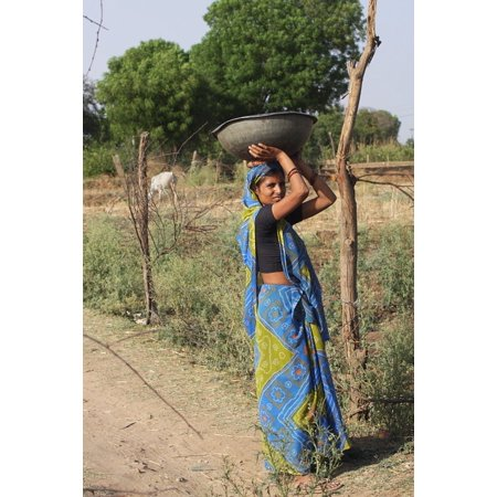 Peel-n-Stick Poster of Travel Worker Poor Woman Saree India Poster 24x16 Adhesive Sticker Poster Print