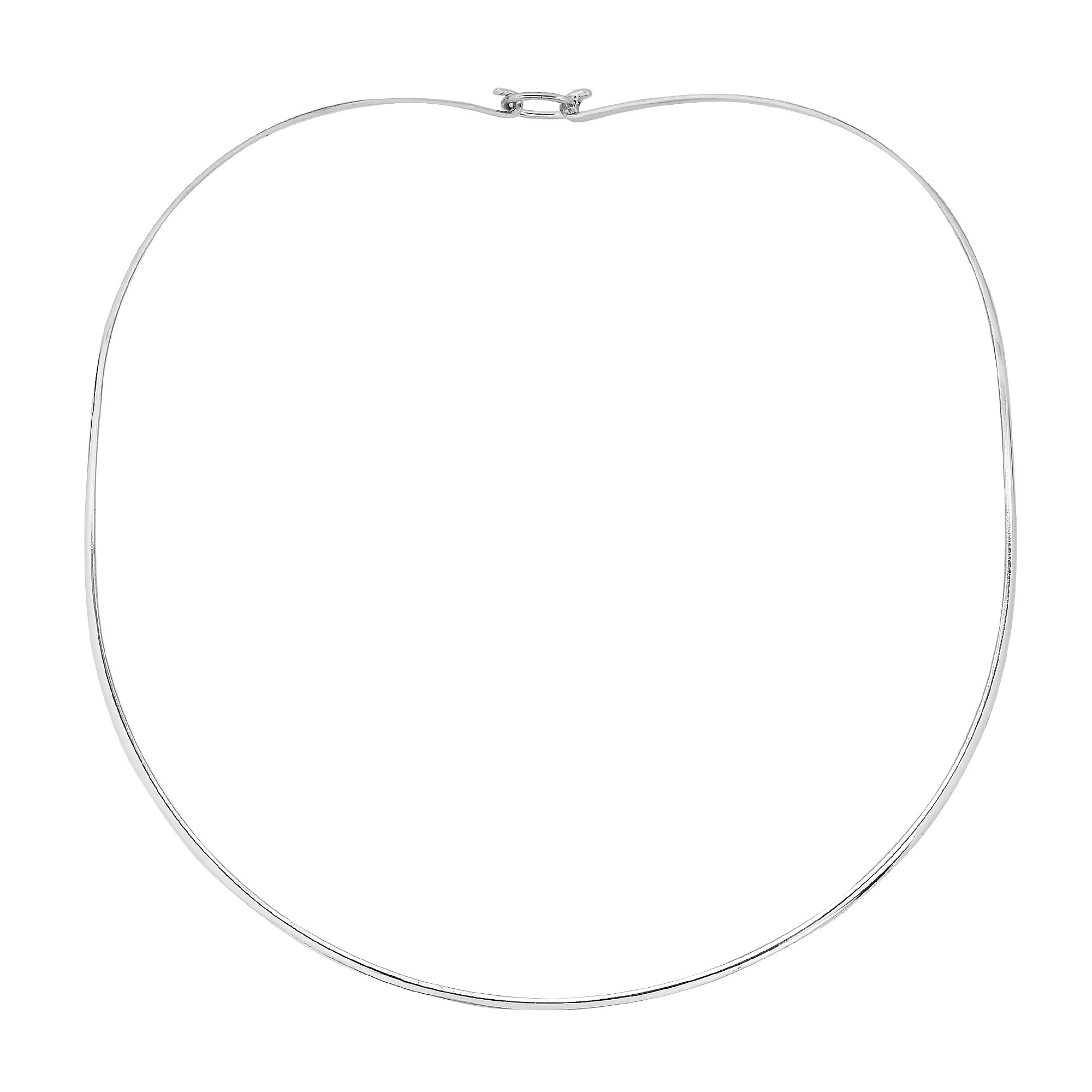Simply 2mm Sterling Silver Choker Necklace with Wire Hook