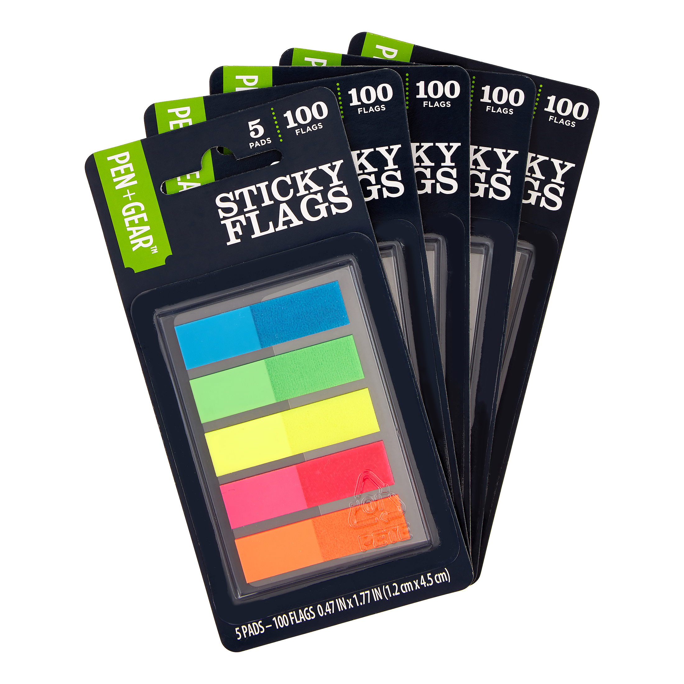 Pen + Gear 5-Color Sticky Flags (5-Pack, 100 Sheets/Pack)