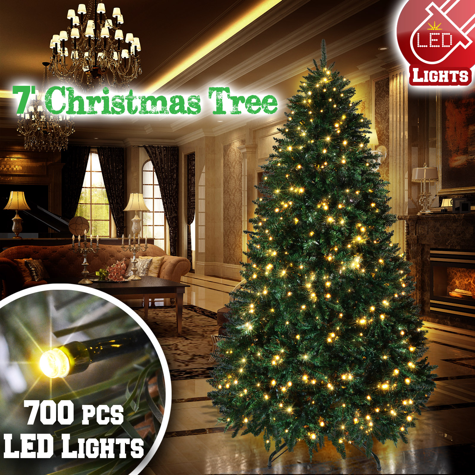 Strong Camel 7 ft Artificial Christmas Tree with Metal Stand Full Tree Xmas Holiday (7' with 700 Clear Lights and 2154 tips)