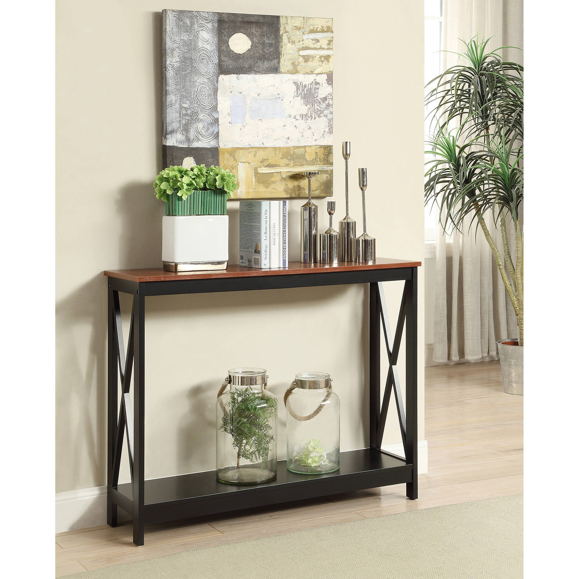 Hallway Console Table Cherry Black Wood