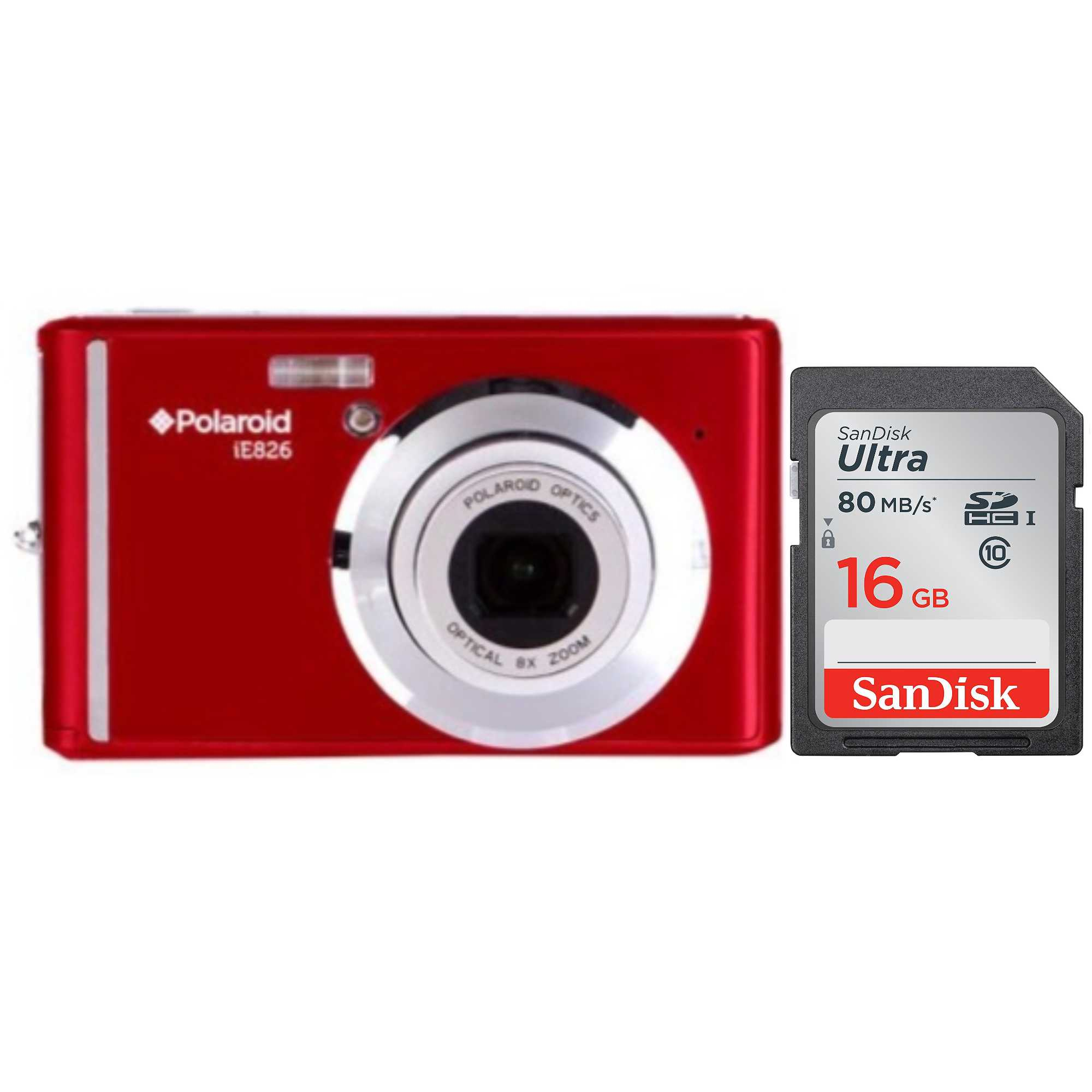Polaroid IE826 18MP Digital Camera (Red) + SanDisk 16GB Memory Card