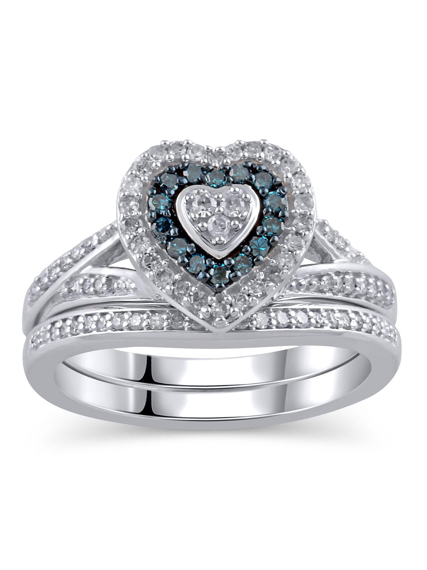 3/8 Carat T.W. Diamond Sterling Silver Rhodium-Finished Bridal Set