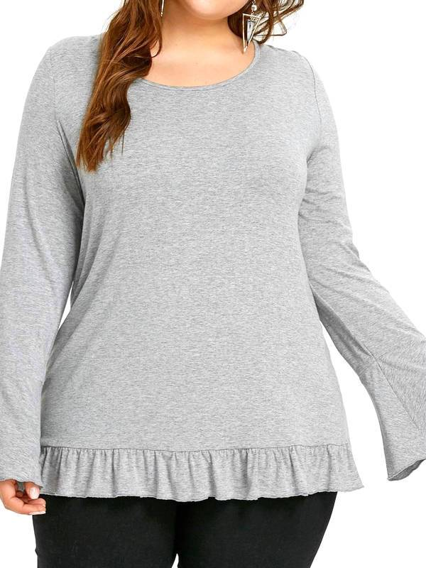 AKFashion Women's Plus Size Long Sleeve Round Neck Lace Paneled Lace-Up Irregular Blouse Shirts Tops