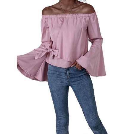 Women Sweet Off Shoulder Blouses, Long Flared Sleeve Bowknot Wrap Pink Shirt Tops