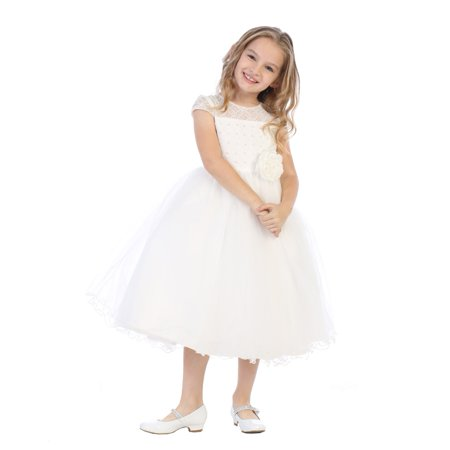 Girls Ivory Corded Lace Pearl Sequin Junior Bridesmaid Dress - Blossom Dress