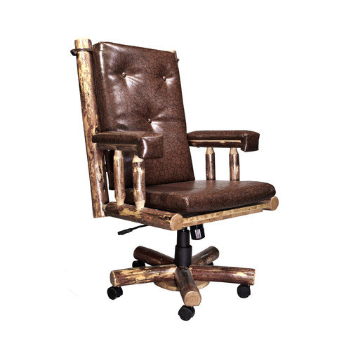 Montana Woodworks Glacier Country Upholstered Leather Executive Chair