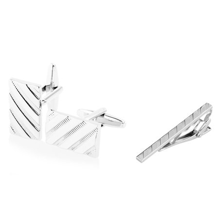 (Cufflinks and Tie Clip set for men by Zodaca Stainless Steel Cuff Links Silver Twill Pattern + Silver Angled Stripes Faceted Tie Clip (gift for dad))