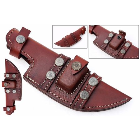 Custom Handmade Horizontal Left Hand Draw Tracker Knife Leather Sheath Brown