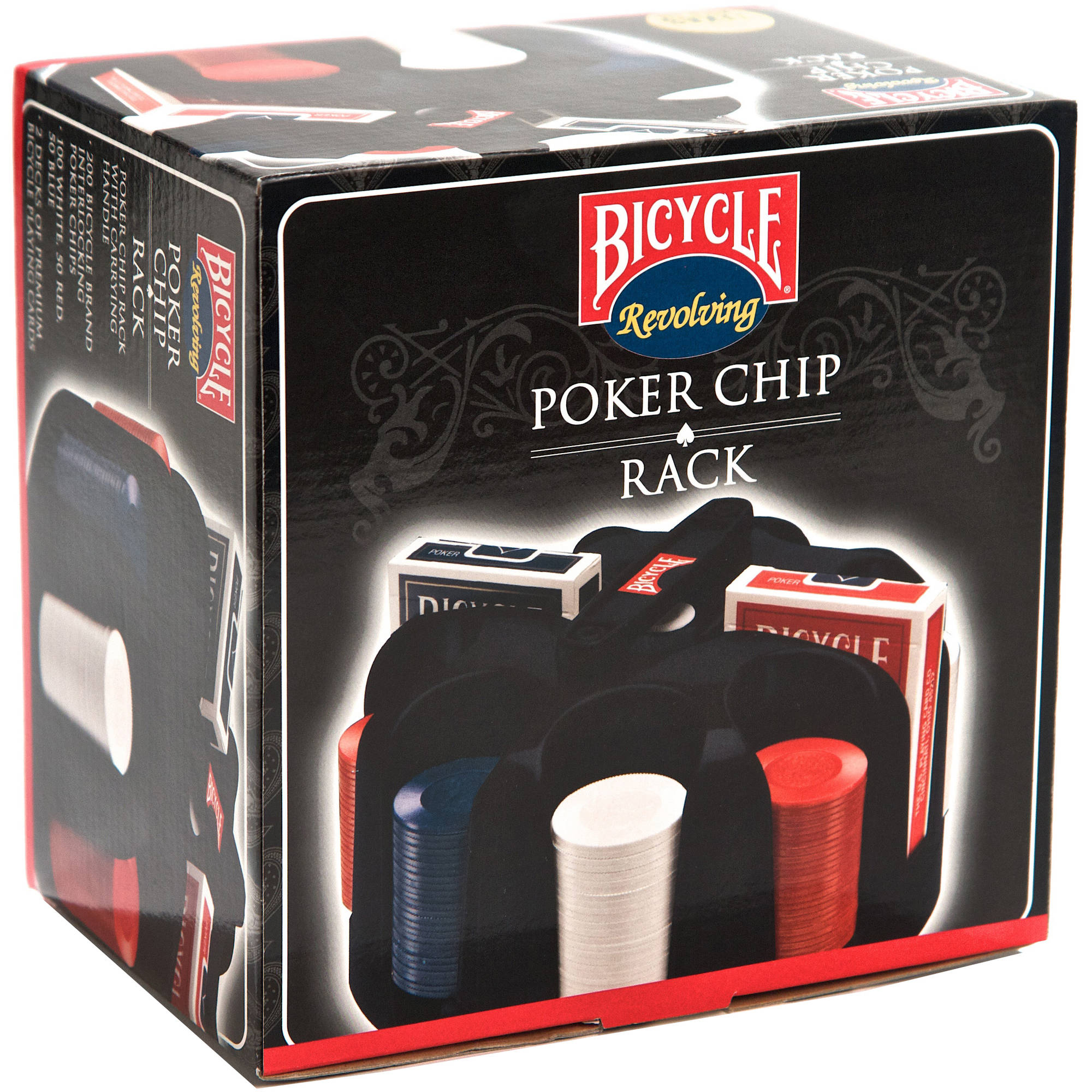 Bicycle Revolving Poker Chip Rack with Chips and Cards
