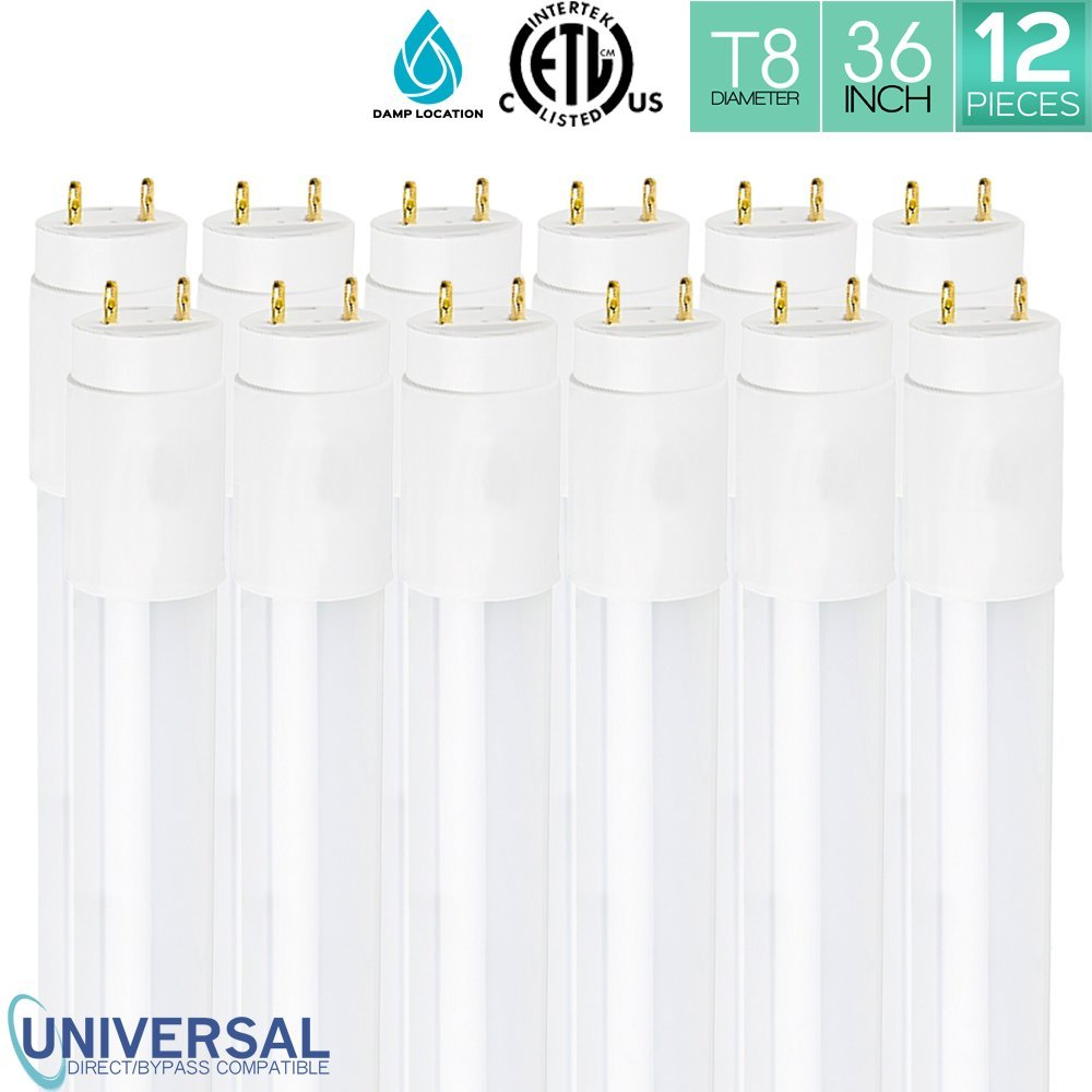 Pack of 12 Luxrite LED 3FT Tube Light 16W (25W Equivalent), 3000K Soft White, T8 Shape, Universal Direct or Bypass, Shatter Resistant, 1600 Lumens, Damp Rated, ETL Listed, G13 Base, 50,000Hr