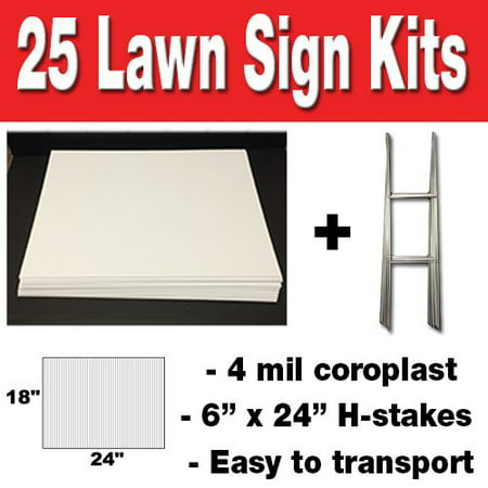 25 quantity Blank Yard Signs 18x24 with h-stakes