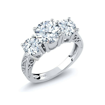 2.90 Ct Round White Topaz Gemstone Birthstone 925 Sterling Silver 3-Stone Ring (Available in size 5, 6, 7, 8, (Heavy Duty Casebound Round Ring)