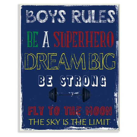 The Stupell Home Decor Collection Boys Rules The Sky is the Limit Wall Plaque Art