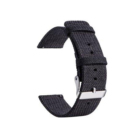 20MM Universal Nylon Canvas Replacement Watch Band Wrist Straps Suitable For Samsung Gear Sport R600 / R732, Garmin Vivoactive 3, Vivomove HR, AMAZFIT, Ticwatch E, Ticwatch 2 Smart Watch