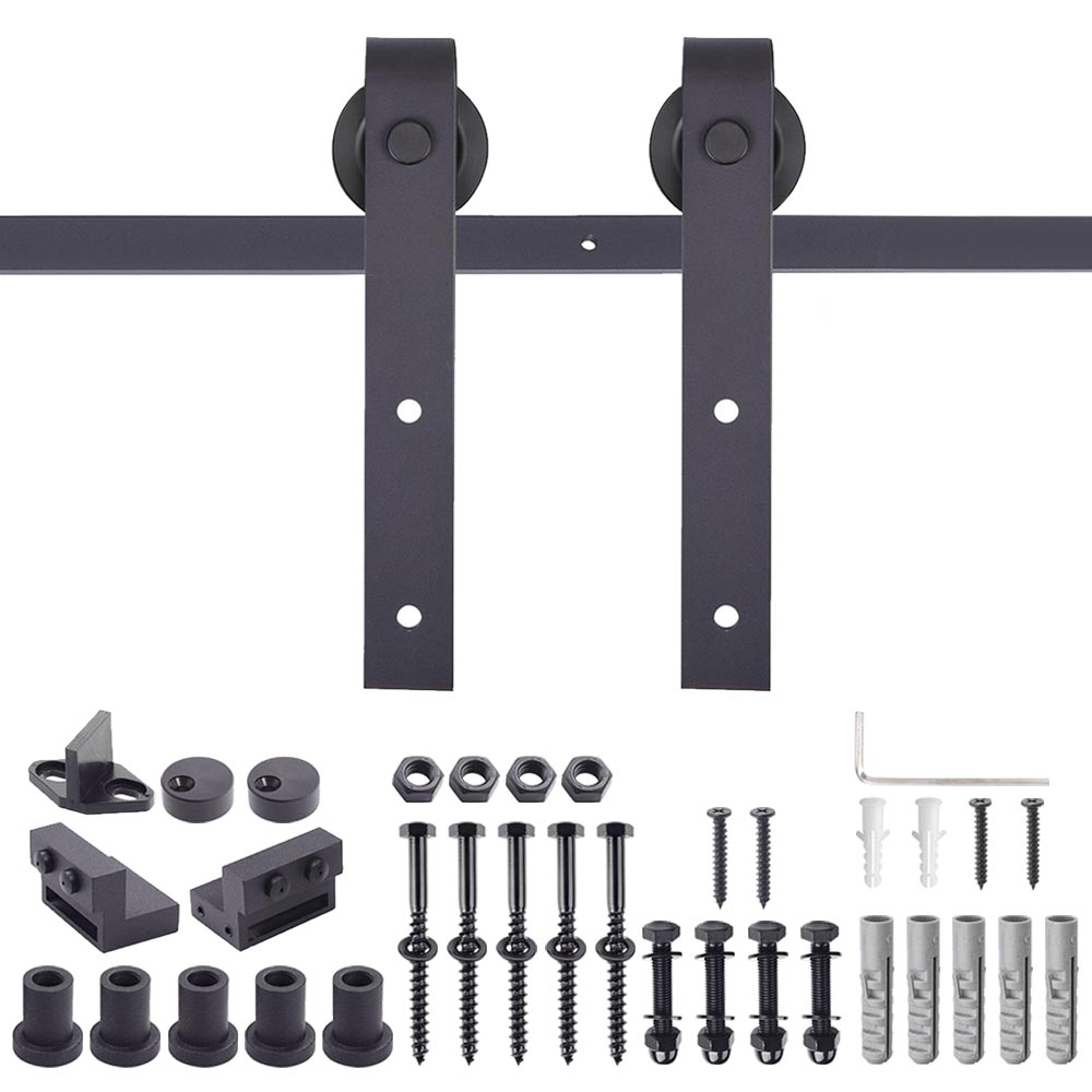 6.6ft Interior Sliding Barn Door Hardware Track Rail Kit Country Style European American Steel for Wooden Wall
