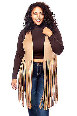 Womens Ladies Plus Sizes Curvy Stylish Suede Fringe Vests