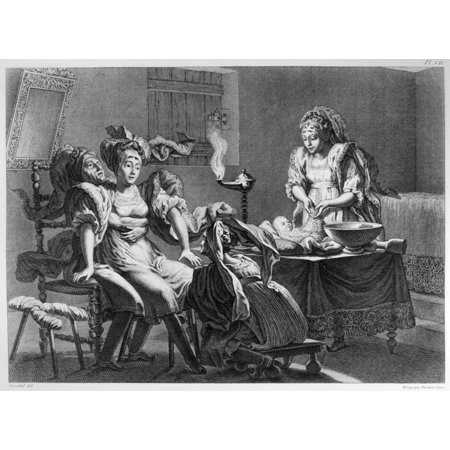 Medicine Childbirth Na Woman Giving Birth With The Aid Of Three Midwives Engraving 19Th Century Poster Print By Granger Collection
