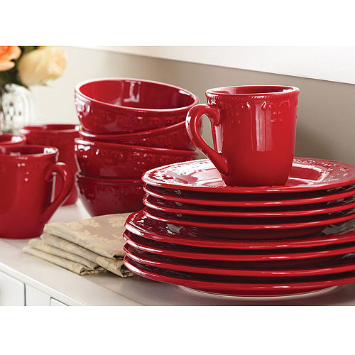 Better Homes and Gardens Embossed Christmas Mistletoe 12-Piece Dinnerware Set, Cranberry
