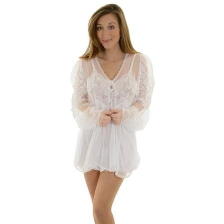 4b765c4dc Fantasy Lingerie - Fantasy Womens White 3 Piece Short Peignoir Set Short  Chemise and Mesh Robe - Walmart.com