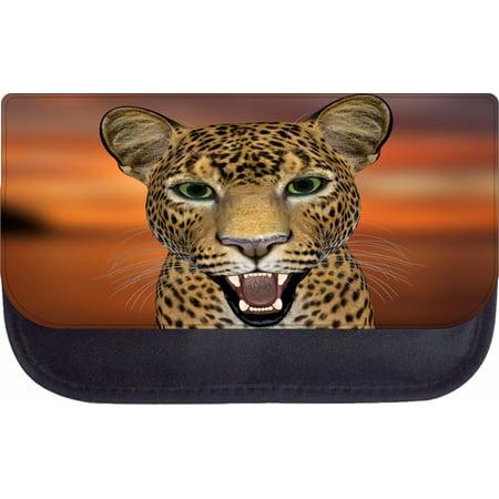 Up-Close Leopard Wildlife Animal - Black Pencil Bag - Pencil Case