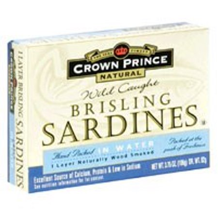 Crown Prince Natural Canned Wild Caught Brisling Sardines, in Spring Water, 3.75 Oz
