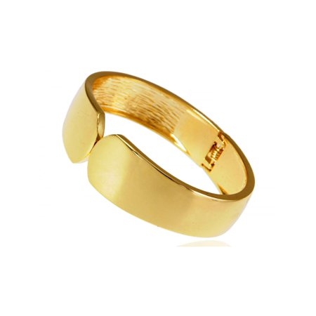 Contemporary Inspired Shiny Golden Metal Alloy Broad Cuff Bangle Bracelet