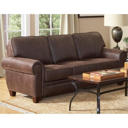 Bowery Hill Elegant And Rustic Microfiber Sofa In Brown
