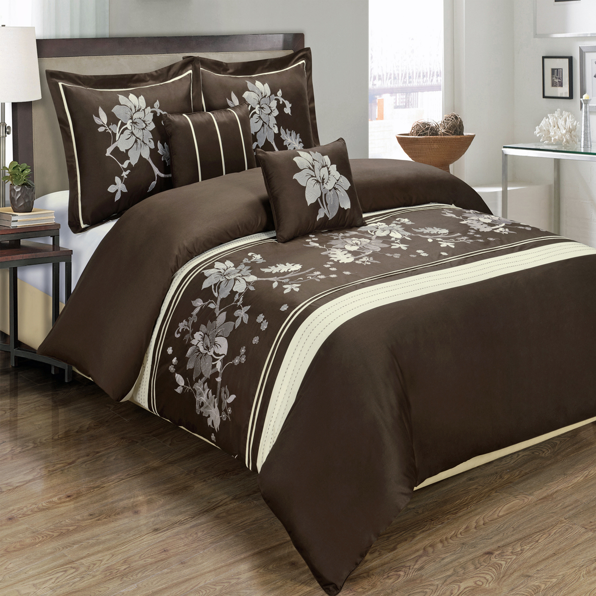 Luxury Myra 100% Cotton 5-Piece Floral Embroidered Duvet Cover AND 2 Shams AND 2 Decorative Pillows Set