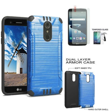 brand new da709 b953b Phone Case for Straight Talk LG Stylo 4 Prepaid, LG Stylo 4 Plus Case +  Tempered Glass Screen with Brush Dual Layered Cover (Combat Blue-Black TPU/  ...