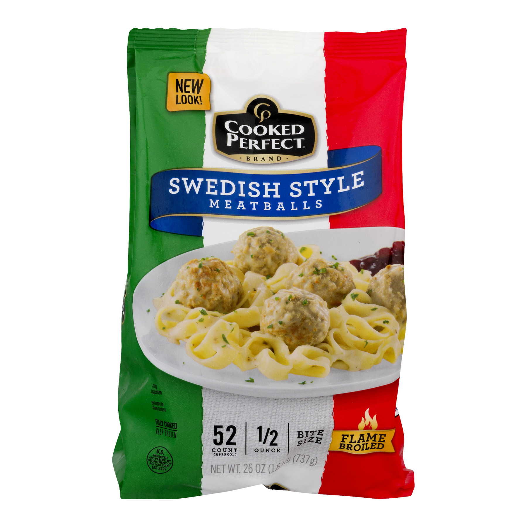 Cooked Perfect® Swedish Style Bite Size Meatballs 26 oz. Bag