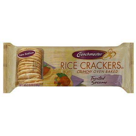 Crunchmaster Toasted Sesame Rice Crackers, 3.5 oz, (Pack of 12)