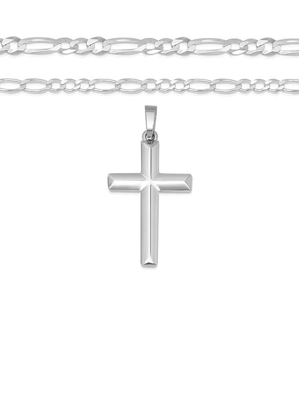 21102e6bc788 DTLA Fine Jewelry - Men's Sterling Silver Cross Pendant Figaro Chain  Necklace Italian Made - 080 - 3mm - 16