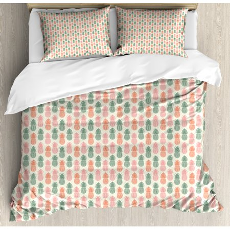 Vintage King Size Duvet Cover Set Colorful Pinele Silhouettes Pattern On A Beige Background Retro