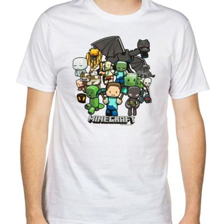 Minecraft Party Mens T-Shirt White Cartoon Mob Steve Creeper Enderman Dragon Skeleton Zombie Cow Pig Spider Creatures Graphic Video Game - Minecraft Steve And Creeper Halloween Costumes