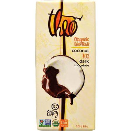 Organic Drinking Chocolate - (4 Pack) Theo Chocolate Organic 70% Dark Chocolate Bar Coconut 3 oz