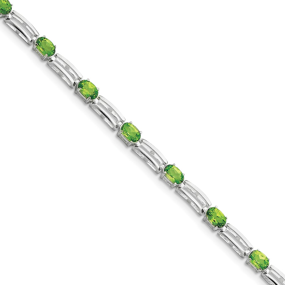 925 Sterling Silver Rhodium-plated Peridot Bracelet by Diamond2Deal