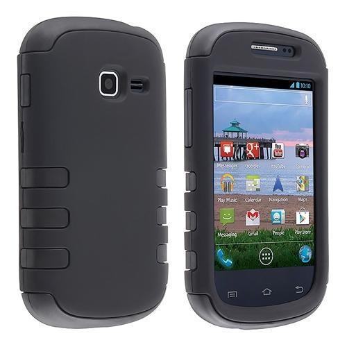 INSTEN Hybrid Case For Samsung Galaxy Centura S738C, Black Skin/ Black Hard