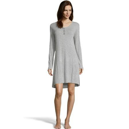 Hanes Womens Cozy Rib Sleepshirt, S, Heather Light (Cozy Nightgown)