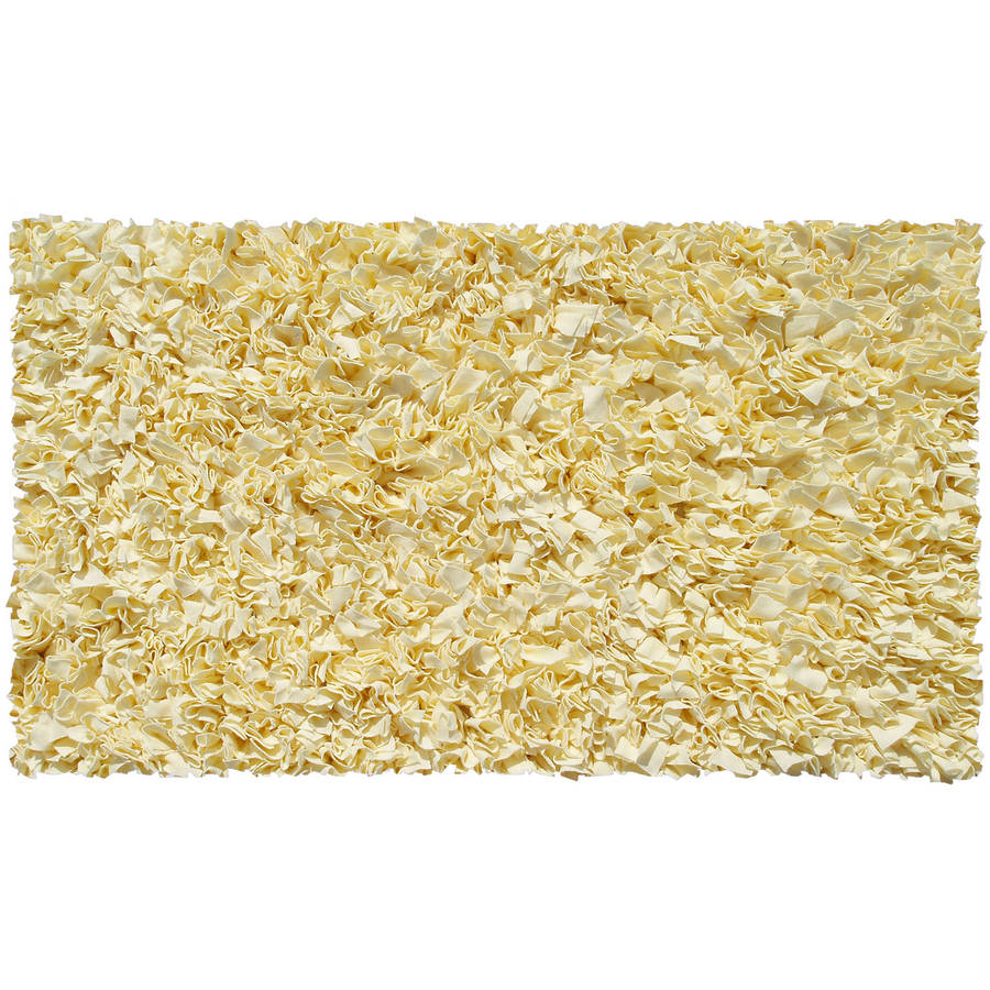 The Rug Market Shaggy Raggy Yellow Area Rug, Size 2.8' x 4.8'