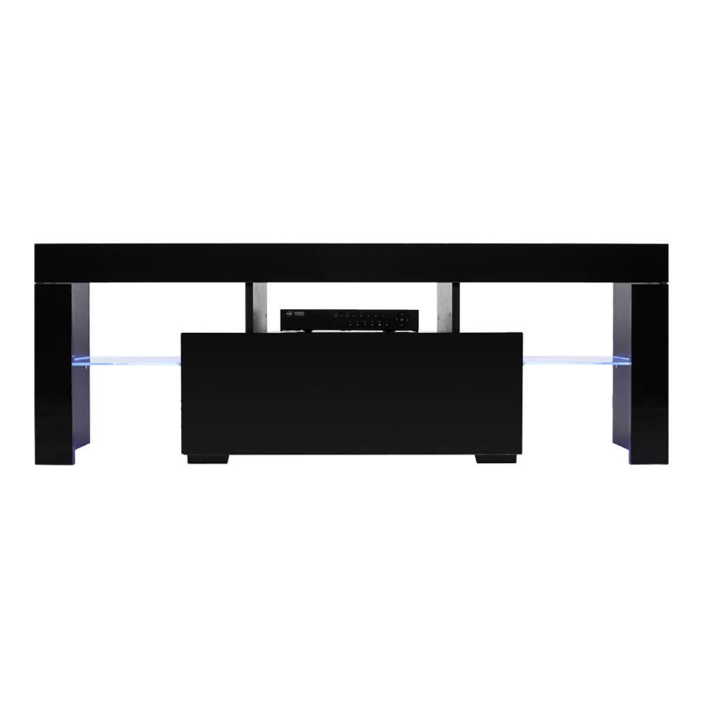 Super Black Led Light Shelves 1 Drawers Console Tv Stand Living Creativecarmelina Interior Chair Design Creativecarmelinacom