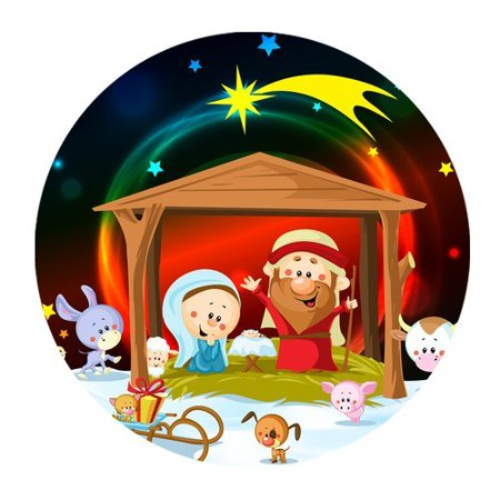 MKHERT Christmas Nativity And Cute Animals Round Mousepad Mat For Mouse Mice Size 7.87x7.87 inches (Nativity Animals)