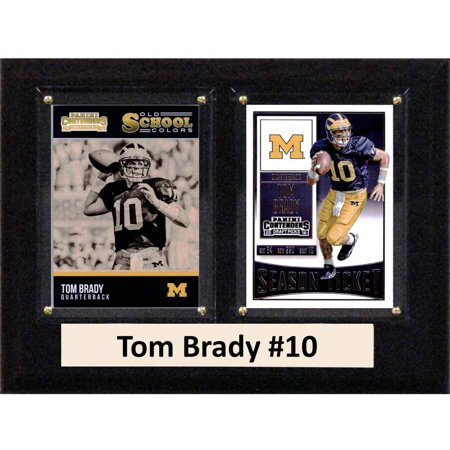 C   I Collectables Ncaa 6  X 8  Tom Brady Michigan Wolverines 2 Card Plaque
