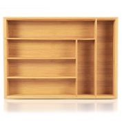 Yosoo Bamboo Cutlery Tray with 6 Compartment 13.8 x 9.8 x 2 in, Cutlery Drawer