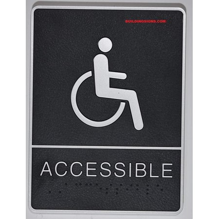 ADA Wheelchair Accessible Restroom Sign with Tactile Graphic (Black,6x9 Comes with Double Sided Tape)- The Leather Sheffield ADA line ()