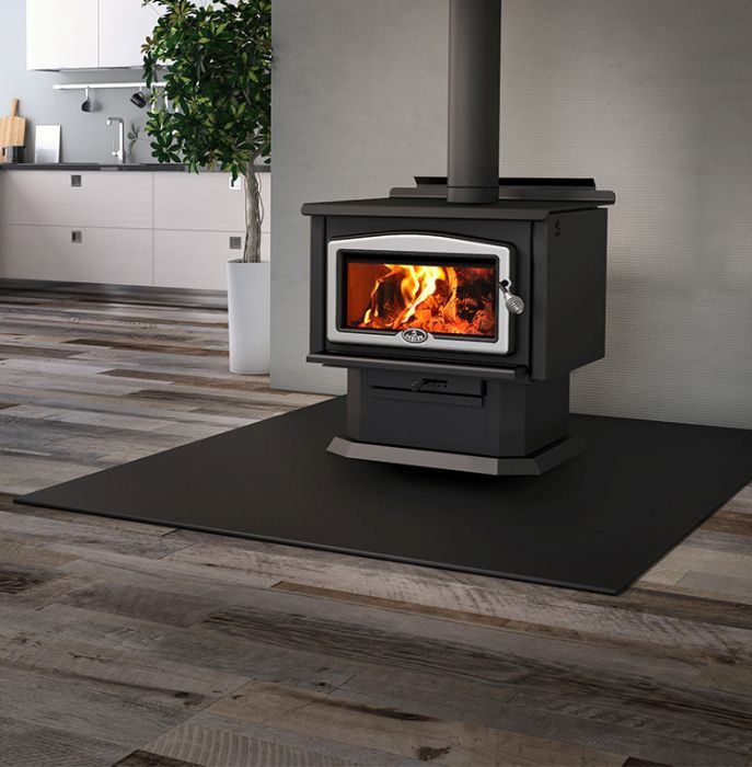 Osburn 2400 Wood Stove with Brushed Nickel Cast iron Door Overlay