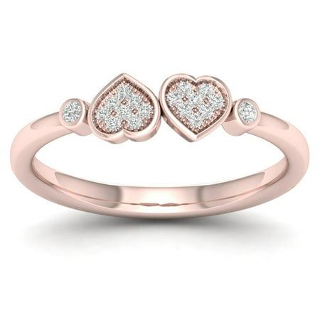 Chanel White Ring - 1/20Ct TDW Diamond 10K Rose GoldHeart Twins Ring